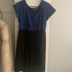 Plus size blue/black dress with pockets